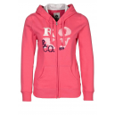Sweat capuche rose à zip