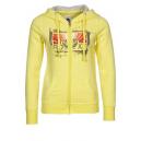 Sweat capuche jaune à zip