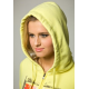 Sweat capuche jaune à zip